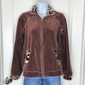 Kaktus Velour Full Zip Jacket Brown Retro sz L